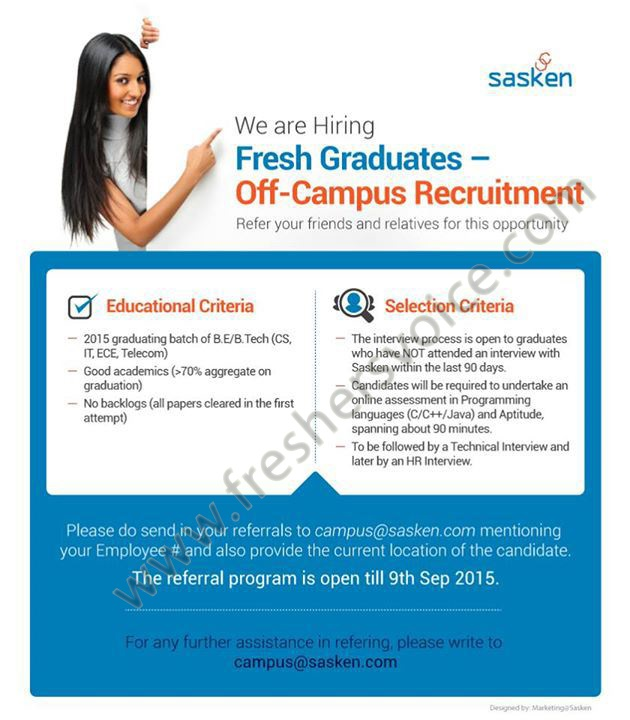 Sasken Off Campus Referral Drive for Freshers