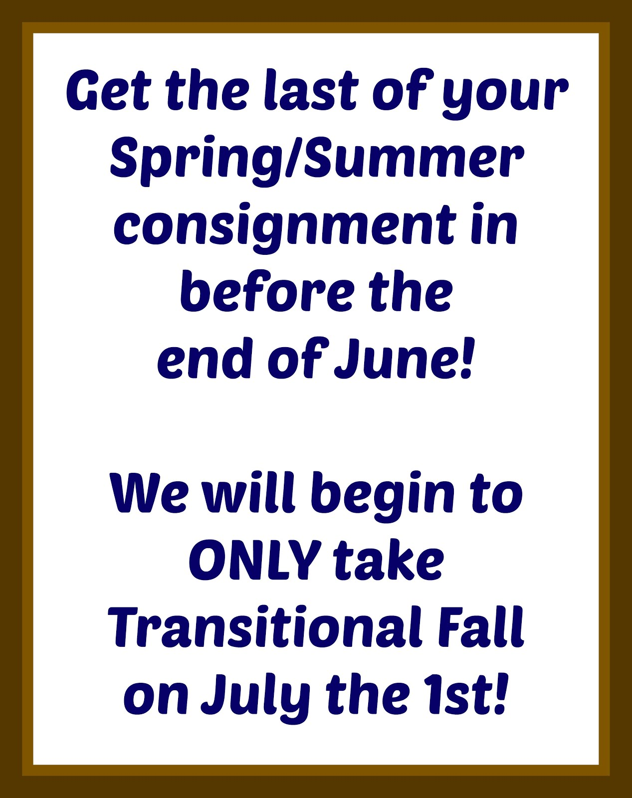 Season Consignment Switch!
