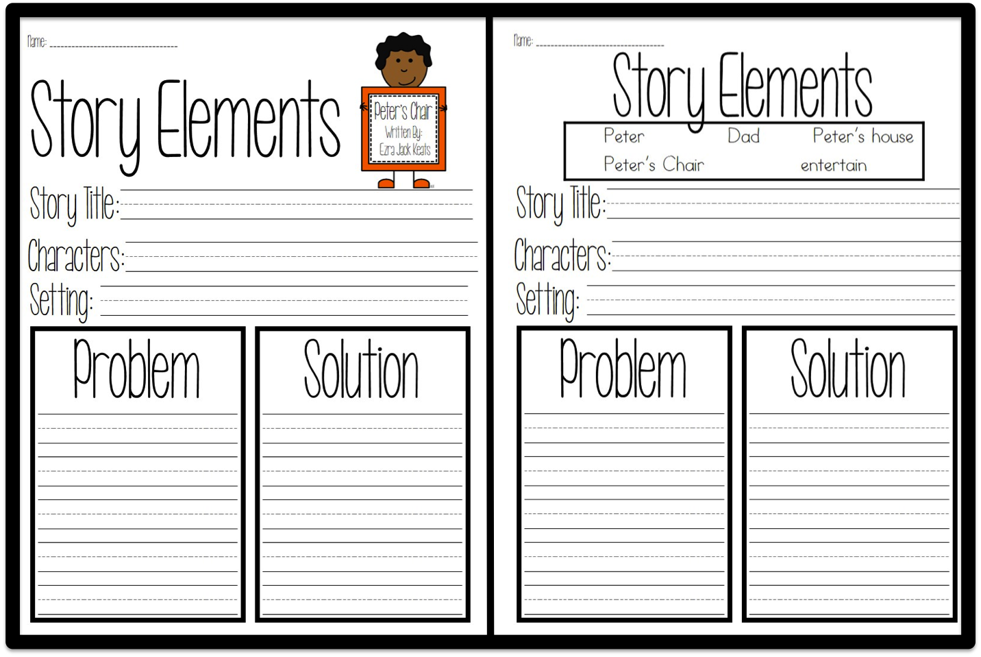 Worksheets Story Elements Worksheets its keats week where the first graders are my students generate their own answers for story elements worksheet however there some who benefit from differentiated instructi