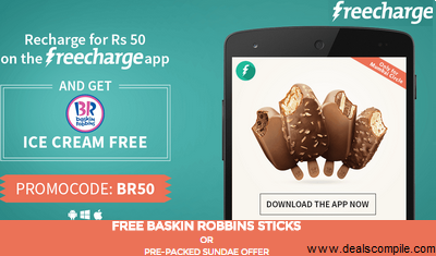 Free Baskin Robbins Ice Cream on Recharge of Rs. 50 only for Mumbai - FreeCharge
