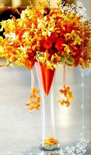 Wedding Decorations, Orange Centerpieces and Flower Arrangements