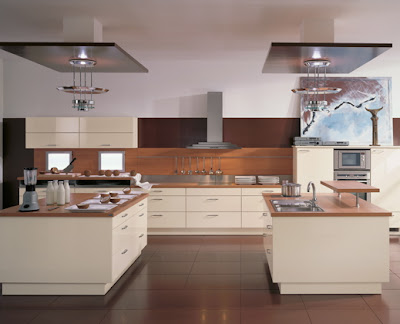 contemporary kitchen design with two islands and wooden countertops