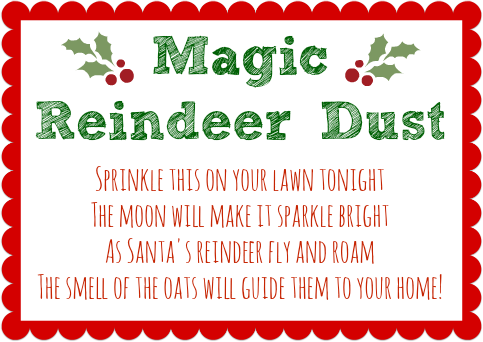Magic Reindeer Dust Recipe with Printable Tag