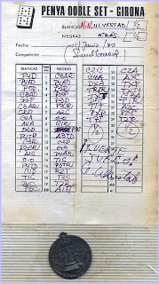 Planilla de Ulvestad en las simultáneas de ajedrez de 1980 de la Penya Doble Set de Girona