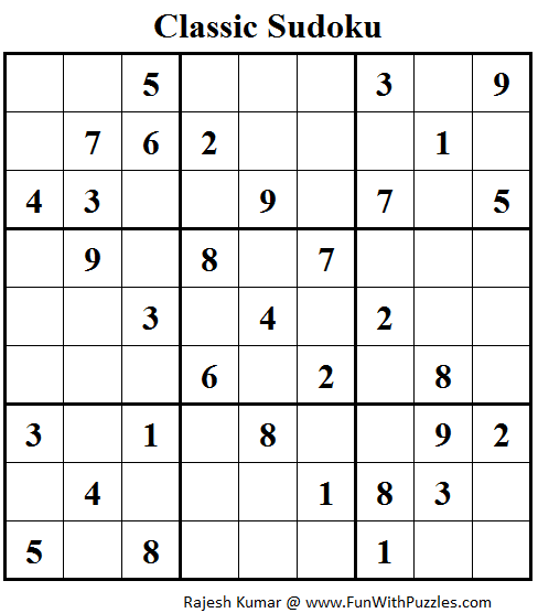 Classic Sudoku  (Fun With Sudoku #101)