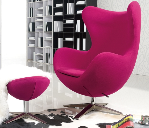 Pink Wool Arne Jacobsen Egg Chair Replica With Ottoman