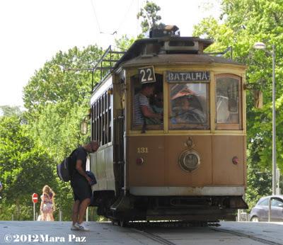 a tram in Porto