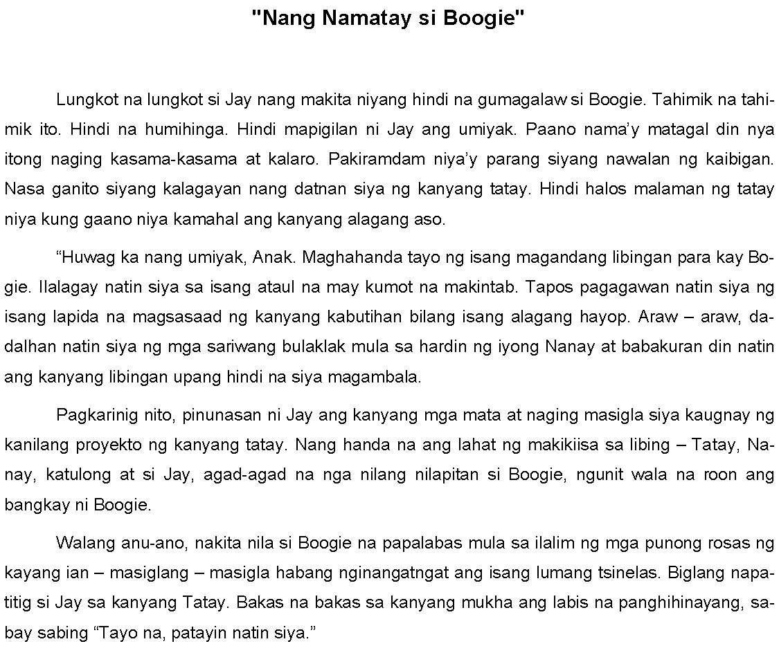 Find tagalog essays and short stories