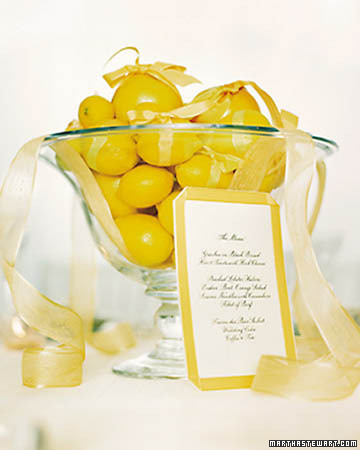 Lemon Wedding Centerpiece Fruit instead of flowers Fruit can also be a
