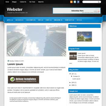Webster blogger template. template blogspot magazine style. download white background blogger template
