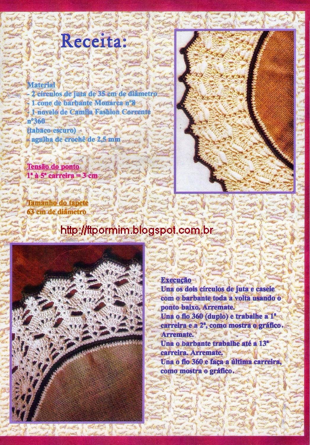 receita de tapete de sisal com barbante e crochê