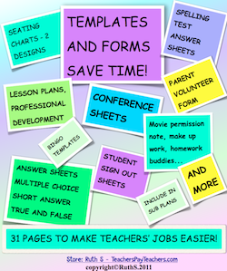 photo of Templates and Forms Save Time, PDF, back to school, Ruth S. TeachersPayTeachers.com