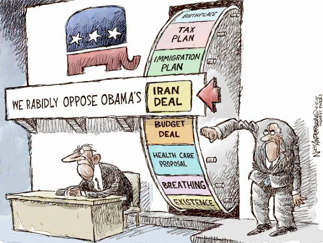 Republican's spinning wheel to determine what Obama policy, including