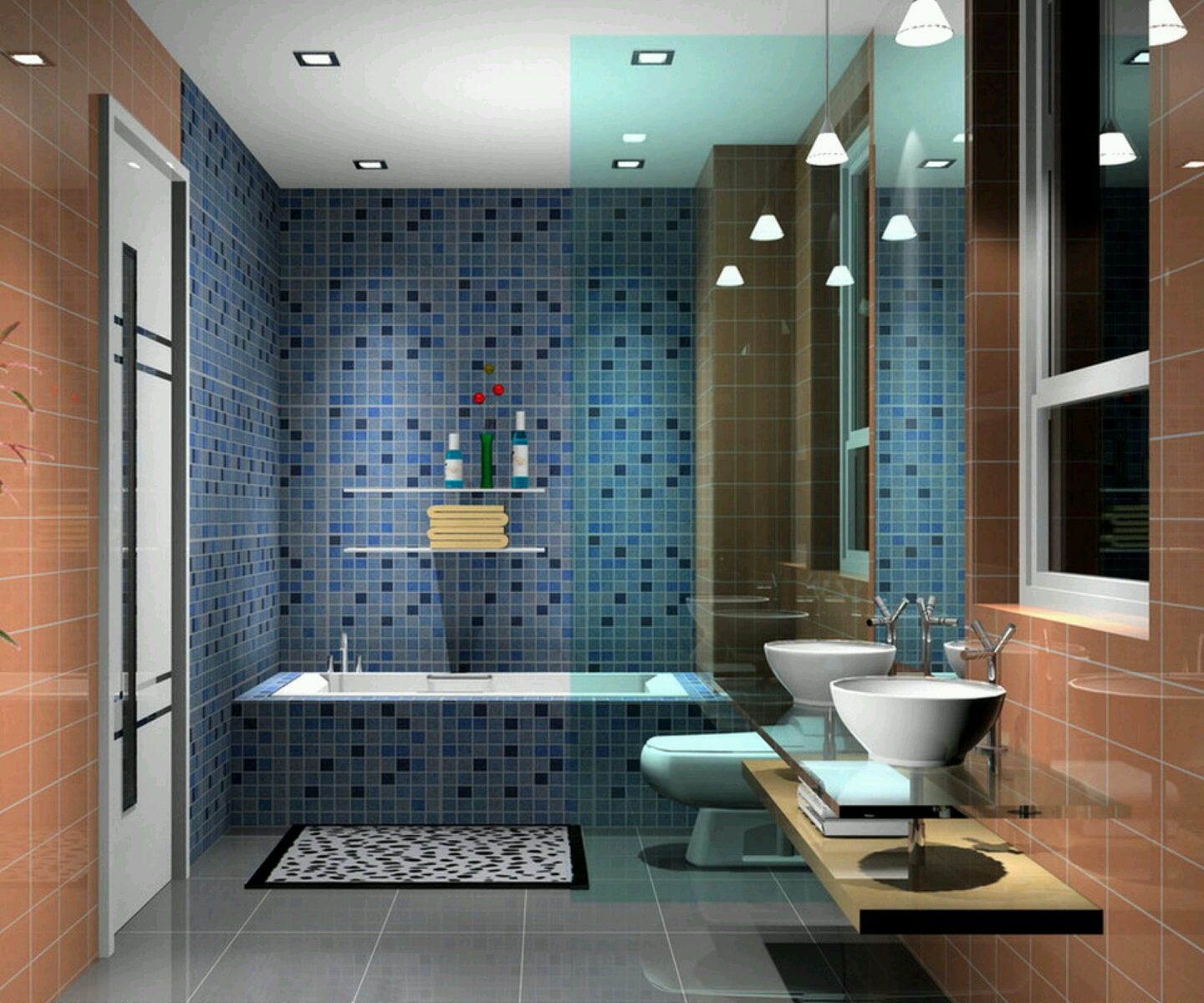 Design with blue tile floor ideas for swimming pool designs for small - Modern Bathrooms Best Designs Ideas