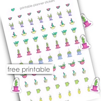 free cactus planner stickers: