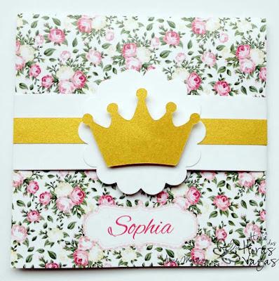 convite artesanal infantil floral provençal rosa coroa dourada princesa menina delicado