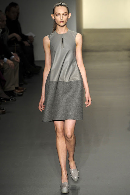 model wearing a grey dress from Calvin Klein's Fall Ready to Wear 2011