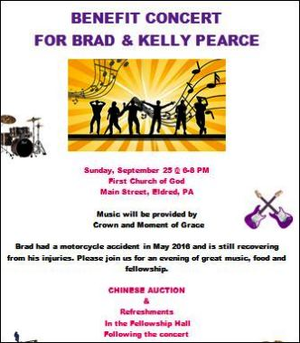 9-25 Benefit Concert For Brad & Kelly Pearce