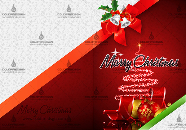 Ready to Print Christmas Greeting Card PSD Template Front