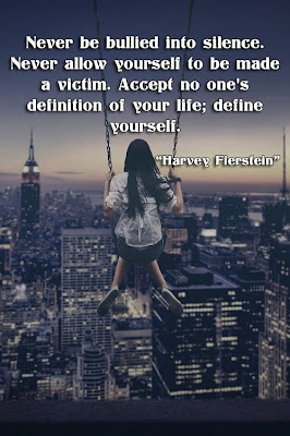 facebook Poste image quotes (Never be bullied into silence. Never allow yourself to be made a victim. Accept no one's definition of your life; define yourself.)