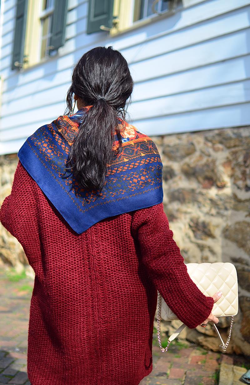 Burgundy sweater street style