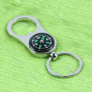 reative 2 in 1 Bottle Opener Compass Pendant Key Chain Keyring Keyfob Gift