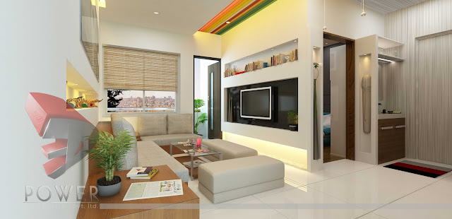 Off-white Apartment Interior design with rainbow color for ceiling.