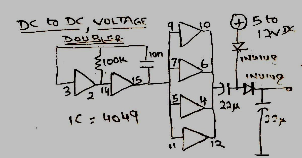 how to make a simple dc to dc voltage doubler circuit diagram  using ic 4049