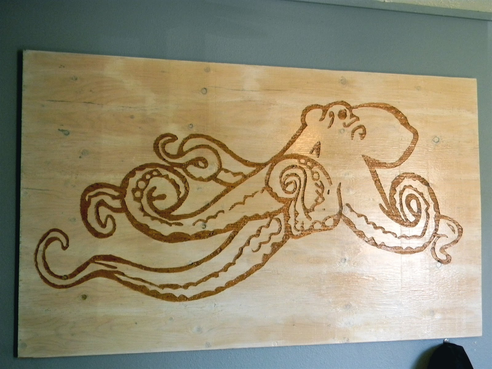 Wooden Octopus Wall Decor : Beer budget decor ply wood octopus art