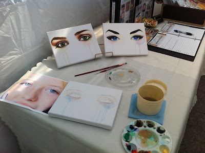 art walk north, mel lastman square, toronto art show, malinda prudhomme, portrait artist, mixed media artist, live painting, eye paintings, eye series, live painting toronto