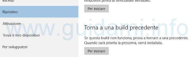 Windows 10 torna a una build precedente