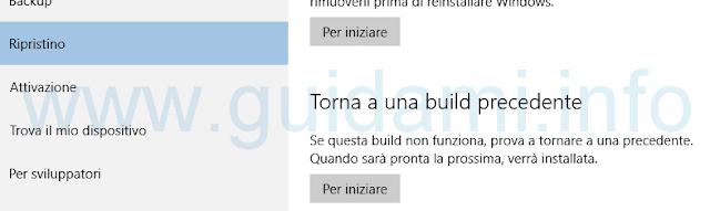 Windows 10 torna a una build precedente