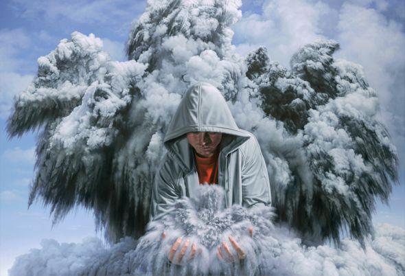 Joel Rea pintura hiper-realista surreal cães gigantes caindo céu Forças