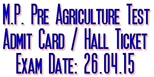 MP PAT 2015 Admit Card