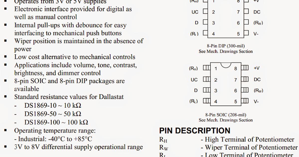 Digital Potentiometer Circuit Using IC DS1869   Circuit    Diagram    Centre