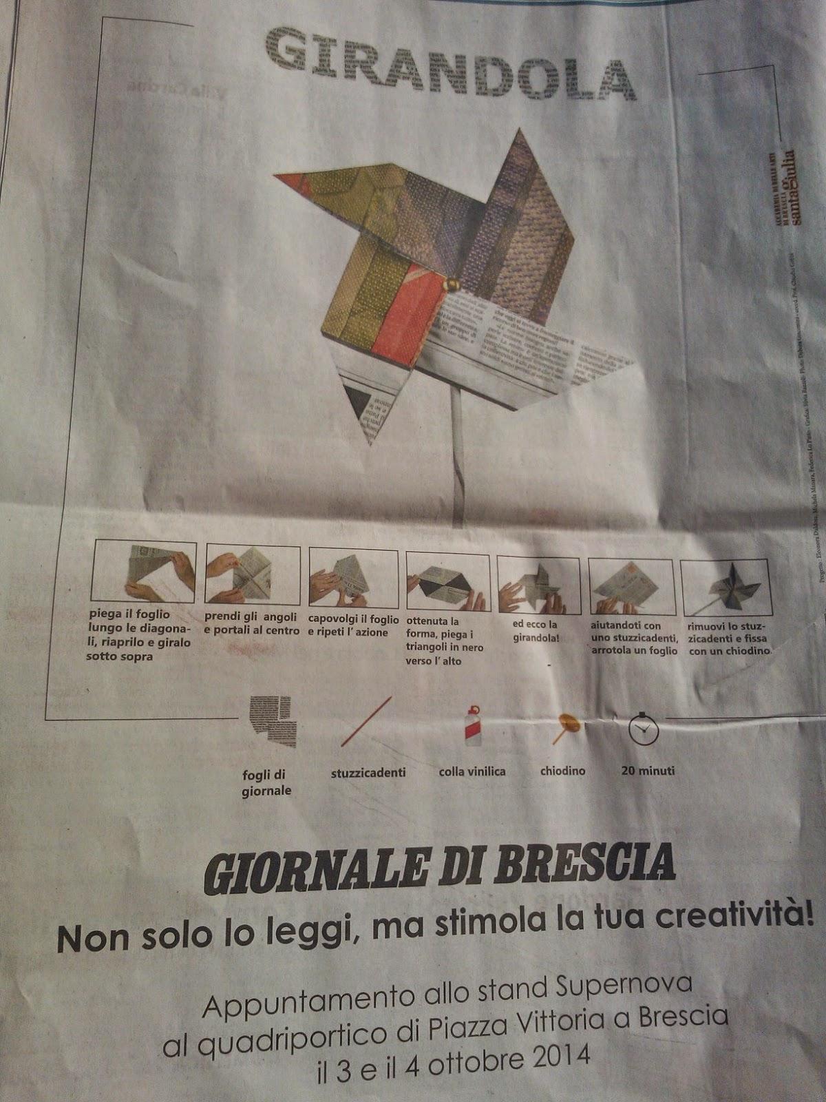 fare una girandola con carta di giornale riciclato, giornale di Brescia