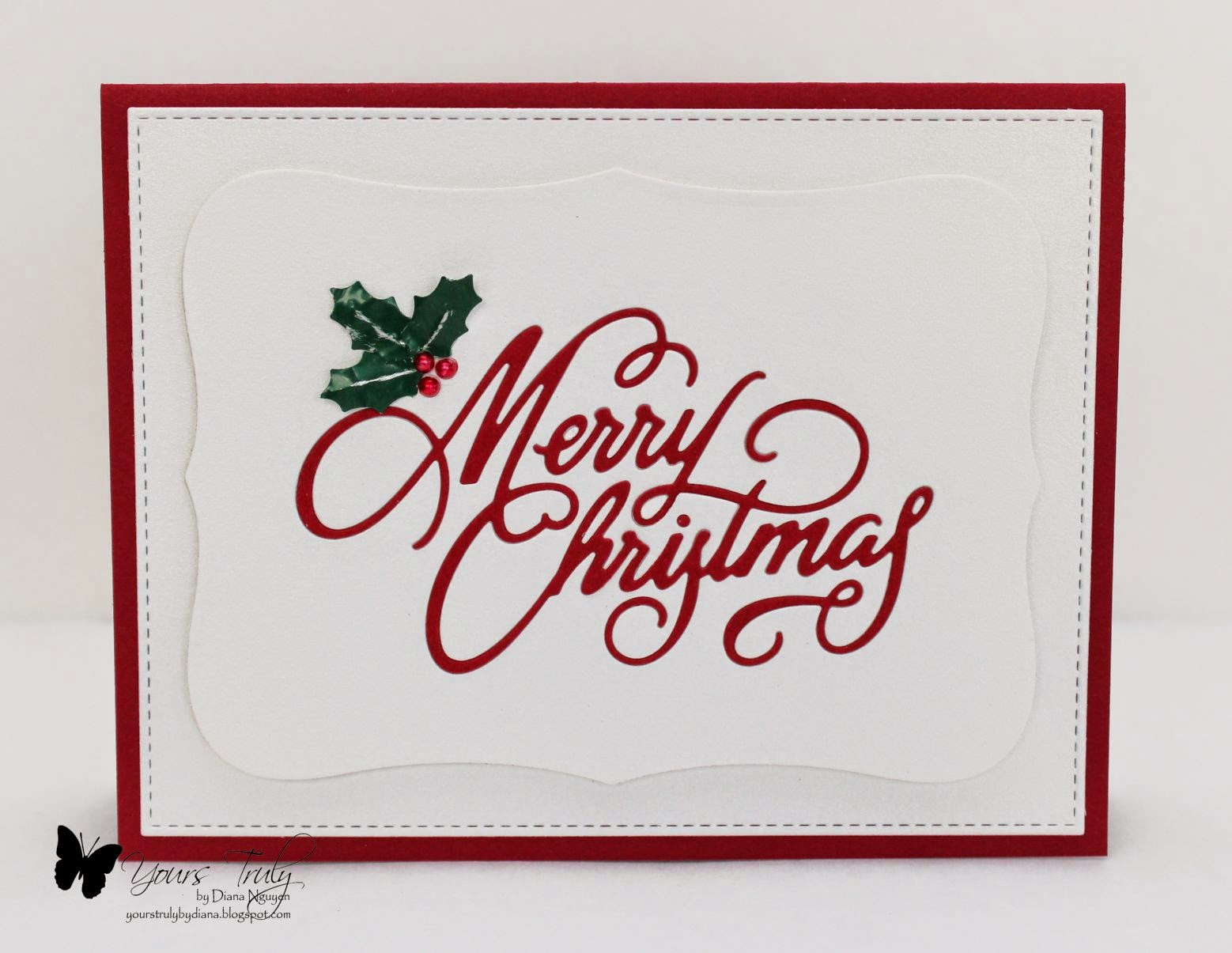 Diana Nguyen, Christmas Card, Impression Obsession, in-laid die cutting, CAS