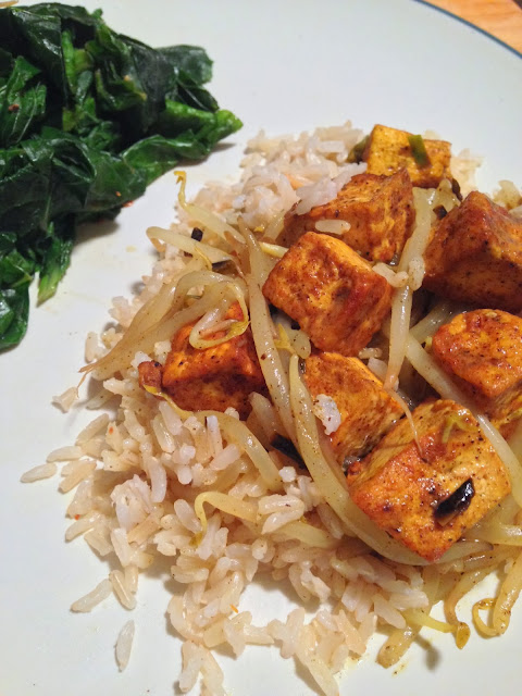 Indian Style Tofu and Bean Sprouts