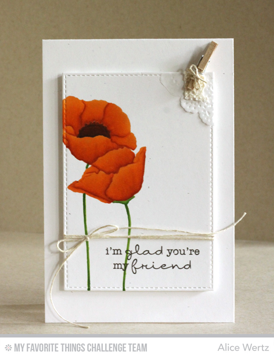 Poppy Friend Card by Alice Wertz featuring the Lisa Johnson Designs Delicate Pretty Poppies stamp set #mfttamps