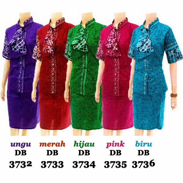 DB3732-3736 Model Baju Dress Batik Modern Terbaru 2014