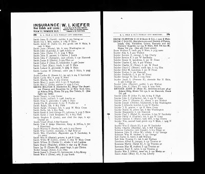 Climbing My Family Tree: 1909 Findlay City Directory, entries for both Philip and John Snyder