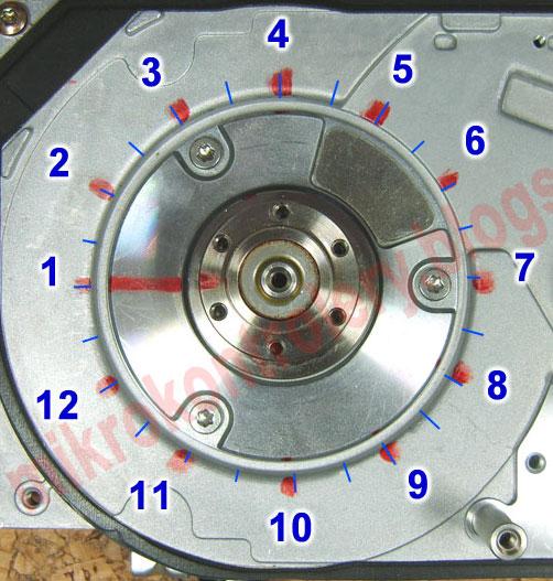 Silnik BLDC - Zaznaczone na obudowie miejsca komutacji.