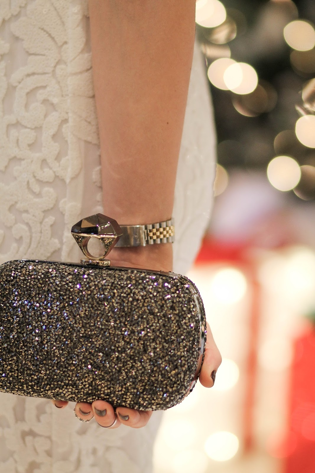 dvf crystal clutch, dressed for dreams