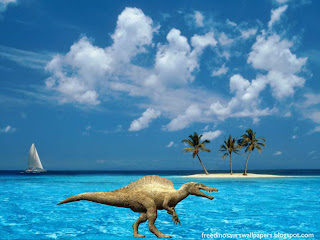Spinosaurs Dinosaurs Free Wallpapers Terrible Spinosaur in Blue Island Desktop wallpaper