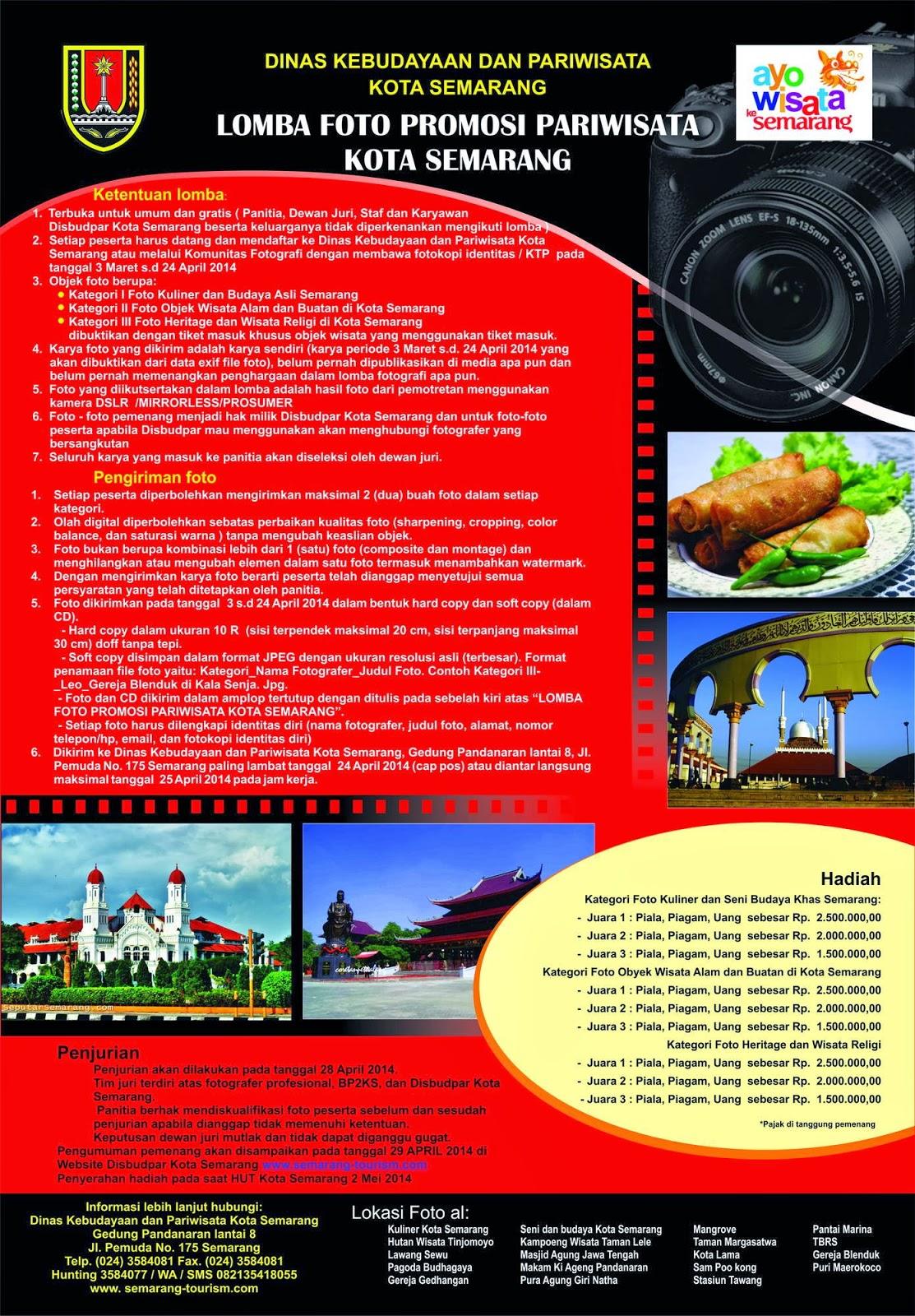 Lomba Fotografi Pariwisata Kota Semarang Deadline 24 April 2014