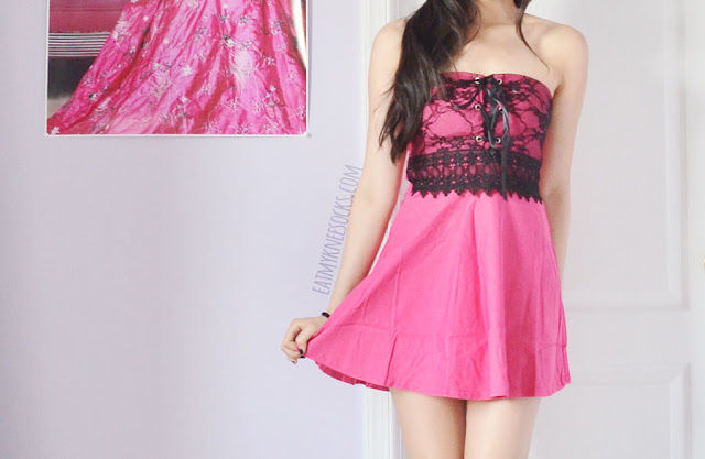 A sexy party outfit, featuring Dresslink's pink lace-trim lace-up ribboned strapless dress and black wedges from Milanoo.