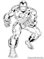 Gambar Iron Man Beraksi Untuk Diwarnai
