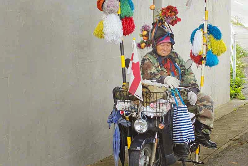 Good Morning Uncle, Honda motorcycle, homeless-looking
