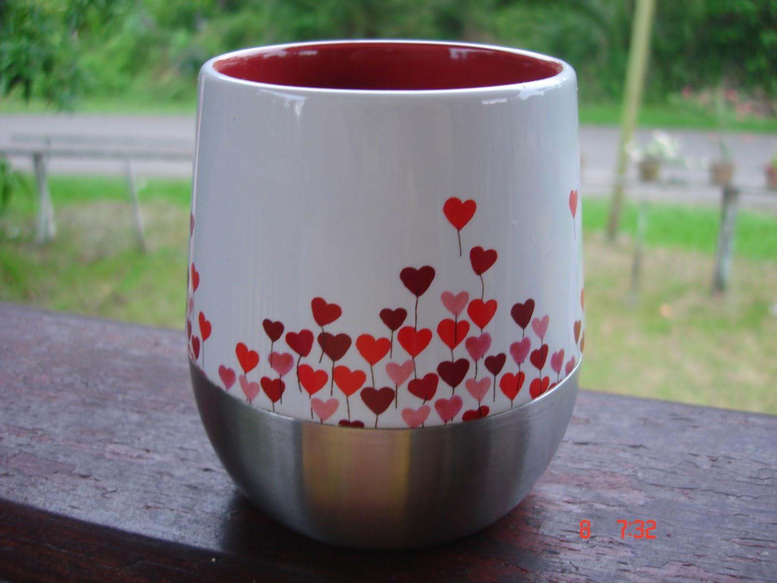 Schön 2007 Valentine Starbucks Rising Heart Mug With Stainless Steel Base