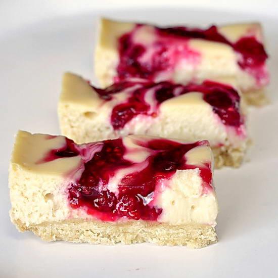 Raspberry Swirl Cheesecake Dessert Bars